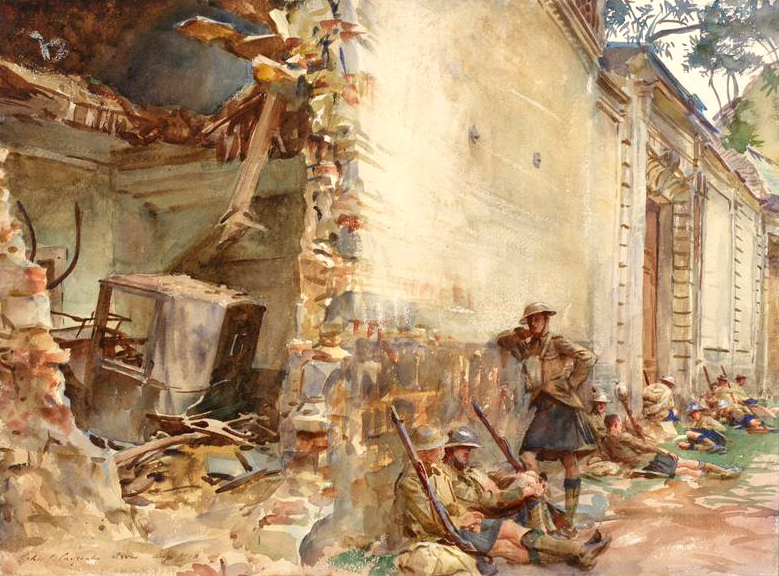 A Street in Arras (Art.IWM ART 1607) Image: Scottish infantrymen resting against the exterior wall of a shell-damaged building. The composition is divided between the view into the coach house, and the scene in the street. The hole blasted into the wall shows the remains of a carriage lying amongst the rubble from the roof. Outside soldiers dressed in kilts sit leaning against the exterior, one figure standing. They are resting, thei... Copyright: © IWM. Original Source: http://www.iwm.org.uk/collections/item/object/23724